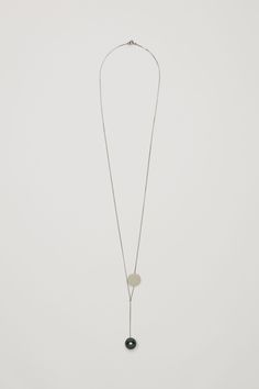 COS image 1 of Long pearl and disc necklace in Silver