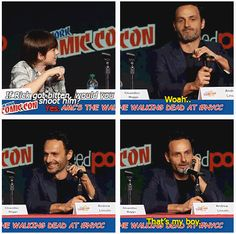 Andrew Lincoln, & Chandler Riggs, The Walking Dead @ NY Comic Con, 10-13-12 ..That's my boy http://pinterest.com/yankeelisa/the-walking-dead-2/