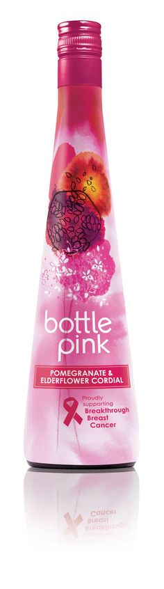 Premium adult soft drinks manufacturer, Bottlegreen Drinks Company, has announced it will undergo a stylish transformation to pink, to support Breakthrough Breast Cancer and raise awareness of its pomegranate & elderflower cordial. Juice Packaging, Sleeve Packaging, Cool Packaging, Beverage Packaging, Packaging Design, Elderflower Cordial, Pink Bottle, Pop Design, Fruit Drinks