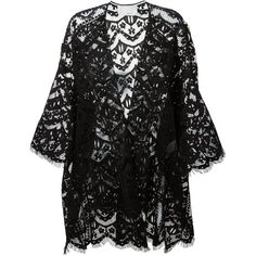 Chloé Lace Cardigan ($2,892) ❤ liked on Polyvore featuring tops, cardigans, jackets, outerwear, kimono, black, open front cardigan, sheer kimono cardigan, floral lace cardigan and lace cardigan
