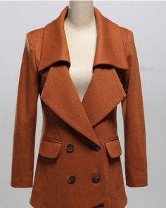 Lapel Brick red long sleeve big lapel wool blazer double-breasted closure type Solid Pop style sy1645168 -cy915001 in