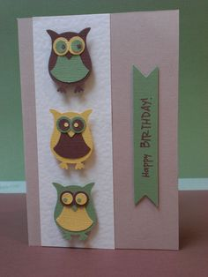 My first stampin up owl punch card