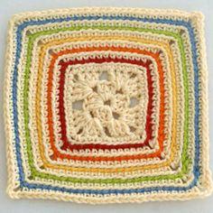 Easy Free Granny Square Crochet Patterns: Rainbow Outlines Granny Square Free Pattern