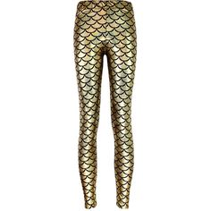 Womens Mermaid Fish Scales Print Shiny Ankle-length Leggings Gold ($6.39) ❤ liked on Polyvore featuring pants, leggings, bottoms, gold, trousers, glossy leggings, shiny pants, fish leggings, legging pants and shiny leggings