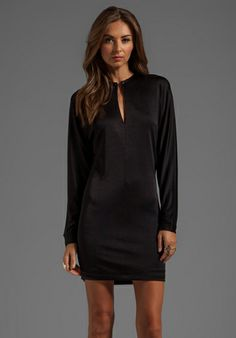 T by Alexander Wang Pique Double Knit Long Sleeve Dress in Black
