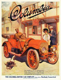 The Mark 48 Columbia Motor Car. Vintage Advertisements, Vintage Ads, Vintage Travel, Vintage Prints, Classic Motors, Classic Cars, Buick, Colani, Cadillac