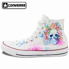 8950d4bcb168 Hand Painted Converse Shoes For Women Men Custom Design Skull Colorful  Flowers White Sneakers Flats High Top Gifts Presents