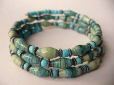 gorgeous hand made paper beads, beautiful colors!