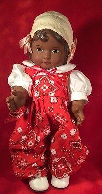 Vintage-12-Daisy-Kingdom-Doll-Dark-Skin-African-American-Red-Jumpsuit