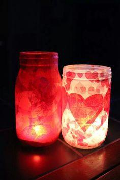 Mason jars tissue paper a DIY project