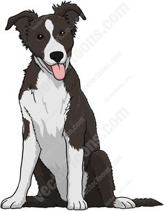 sketch of border collie | Black And White Border Collie Puppy Cartoon Clipart ...