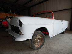 1955 Chevrolet Bel Air - The front of the new car in the shop.