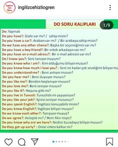 Vocabulary Journal, Turkish Lessons, Learn Turkish Language, Adverbs, Learning Spanish, Learn English, English Language, Origami, Barbie