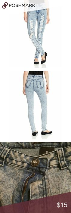 High-waisted jeans Juniors Denim In High Waist Style with Rips On Front   BRAND NOT LISTED USED ONLY FOR EXPOSURE Yeezy Jeans Skinny