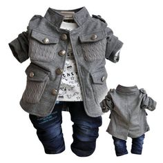 NWT Fall baby boys clothes 3PCS suit+Tshirt+Pants boys outfit kid clothing set #babyboyfashion, #babyboyoutfits