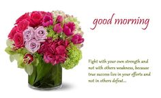 Fight with yourown strenght and not with others wearness  beacuse true success lies in your efforts and   not in others defeat   Good morning