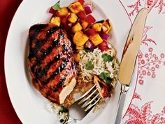 Hawaiian Chicken --grilled chicken marinated in a mixture of pineapple juice, ketchup, soy sauce and ginger.
