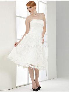 White Strapless Ball Gown Tea Length Lace Wedding Dress#wedding #dress