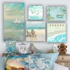 Whether you're looking to complete a room with some beach wall art or you want to go for a full-on beach theme in your home, you'll be glad to know th...   Coastal Art Gallery Wall Set #WallDecor #CoastalWallDecor #CoastallWalls #BeachDecor Canvas Art Prints, Canvas Wall Art, Florida Home Decorating, Coastal Wall Decor, Coastal Art, Modern Coastal, Coastal Farmhouse, Farmhouse Decor, Salinas