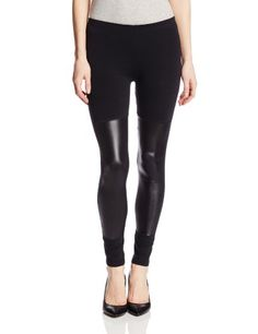 Jessica Simpson Womens Faux Leather Panel Legging Black Medium *** Want additional info? Click on the image.