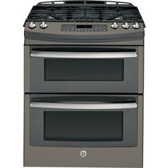GE Profile Series 30-in 5-Burner 4.3-cu ft/2.5-cu ft Self-Cleaning Double Oven Gas Range (Slate)