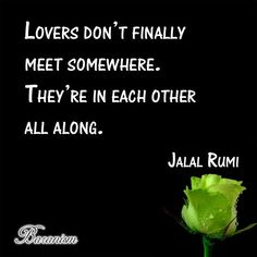 """The minute I heard my first love story, I started looking for you, not knowing how blind that was. Lovers don't finally meet somewhere. They're in each other all along."" ~ Jalāl ad-Dīn Muhammad Rūmī #Love #Baran #Baranism #Jalal #Rumi"