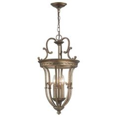World Imports 3-Light Distressed Brass Pendant-WI61019 - The Home Depot