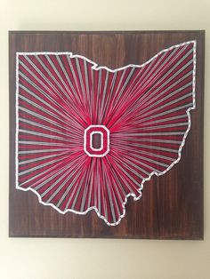 Etsy: my2heartstrings Perfect for the Buckeye fan! This string art Ohio outline sign features scarlet and grey with a scarlet and white Block O.