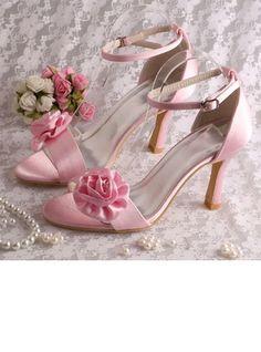 Women's Pumps Stiletto Heel Silk Like Satin Flower Wedding Shoes