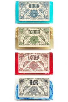 Set of four full size Alchemy Inspired Soaps - Aqva, Terra, Ignis and Aer. - Complete Set - 120g x 4 - Fine Soaps - Cellophane Wrapped - Cruelty-fr...