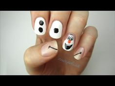 Hand painted Halloween Olaf nail design for 2014 - frozen nail art, disney, DIY Nail Art Disney, Simple Disney Nails, Disney Nail Designs, Cute Nail Designs, Disney Diy, Holiday Nail Art, Christmas Nail Designs, Christmas Nails, Disney Christmas