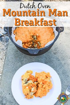 Dutch Oven Mountain Man Breakfast - Need a camping breakfast recipe that will keep the family filled all day? Try this Mountain Man Breakfast recipe made with eggs, meat, regular or sweet potatoes, and cheese. #dutchoven #camping #breakfast #LetsCampSmore #campingrecipe #campingbreakfast