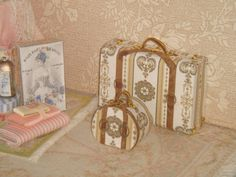 Dollhouse Set of Vintage Luggage. 1:12 Miniature set of Suitcases.