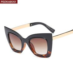 9b30c39021f Peekaboo Fashion Cat Eye Sunglasses Women Oversized Black 2019 Summer Sexy  Half Metal fb9393  Discounts