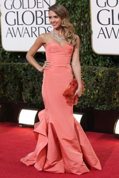 Jessica Alba at the 70th annual Golden Globe Awards at the Beverly Hilton. Alba wears Oscar de la Renta with Harry Winston jewelry and Roger Vivier clutch.