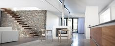 House Porter, Cape Town - architecture - open living with central fireplace Public Architecture, Residential Architecture, Cape Town, South Africa, Beach House, Stairs, Furniture, Home Decor, Beach Homes