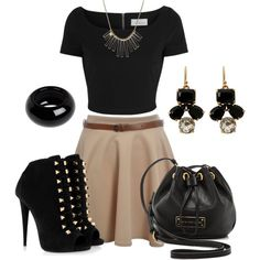 """beige skater skirt/black crop top outfit idea"" things to wear"