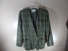 Atrium Collection Womens Windowpane Green Plaid Blazer Suit Jacket size 4 #AtriumCollection #Blazer