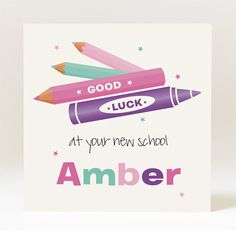 Handmade Personalised Good Luck At Your New School by JellyLaneinc