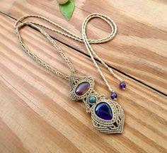 Amethyst macrame necklace macrame jewelry quartz necklace