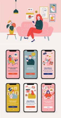 36 beautiful illustrations featuring stylish characters, ready to make your own unique website, app or project for your ecommerce shop, food delivery, social media & travel business. – 36 Vector format illustrations – Customizable Colors and Size – Ve App Mobile Design, App Ui Design, Interface Design, Dashboard Design, Design Color, Ui Ux Design, Make Design, User Interface, Graphic Design