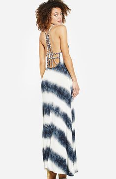 DAILYLOOK Braided Back Tie Dye Striped Maxi Dress in navy S - L