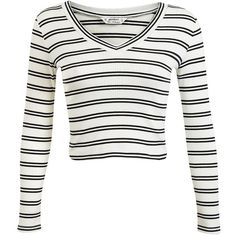 Miss Selfridge V-Neck Cricket Jumper Top ($40) ❤ liked on Polyvore featuring tops, crop tops, shirts, long sleeves, cream, cream crop top, striped shirt, long sleeve tops, long sleeve shirts and white v neck shirt