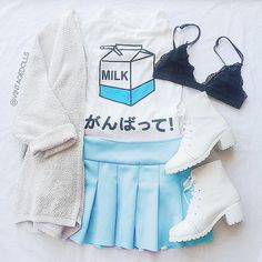 "White and blue outfit with the ""Milk"" graphic tee, light blue pleated skirt, white cardigan, and white platforms"