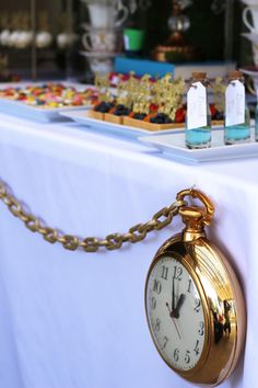 Giant Pocket Watch Table Bunting from an Alice In Wonderland Dessert Table via Kara's Party Ideas   KarasPartyIdeas.com (6)