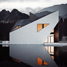 the crown house, designed by @81.WAW.PL and rendered here by #michalnowak, features sharp lines and pointed edges that subtly mimic its surrounding alpine landscape. ⠀ ⠀ see more #architecture on #designboom