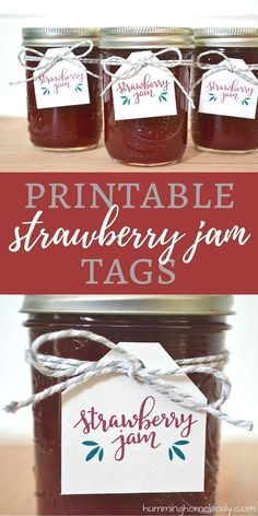 FREE printable strawberry jam tags for homemade canned jam. Print off these strawberry jam labels at home for an easy and inexpensive gift! Jam Jar Labels, Jam Label, Canning Labels, Gift Labels, Canning Recipes, Printable Recipe Cards, Printable Labels, Free Printables, Jam Packaging