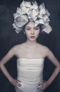 Photographer/Designer: Jesper Kristian - Papproduction​ Origami/Headpiece: Fredrik Glud Makeup: Ditte Silberbauer Model: Anne Lindgaard Mortensen Paper Fashion, Origami Fashion, Fashion Art, Editorial Fashion, Fashion Design, Origami Hat, Plastic Art, Fancy Hats, Pink Paper