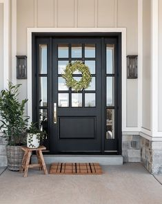 front porch ideas curb appeal Add structure and serious curb appeal to your front door with our Plaid Doormat. Designed by the Studio McGee Team, this McGee & Co. Black Front Doors, Front Doors With Windows, Front Door Entrance, Exterior Front Doors, The Doors, Front Door Decor, Farmhouse Front Doors, Colonial Front Door, Exterior Door Colors