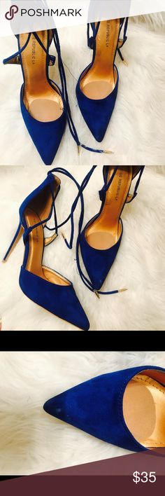 94bc6b35b3d5 Royal blue string up stilettos These are hawt! They are royal blue string  up stilettos. Could use new heel taps.